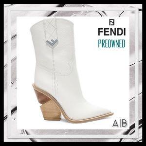 FENDI White Cutwalk Western Boots/Booties